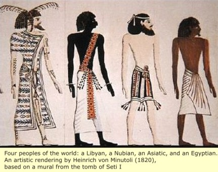 Retouched visual depictions of ancient 'races' of Libyans, Nubians, Asiatiacs, and Egyptians