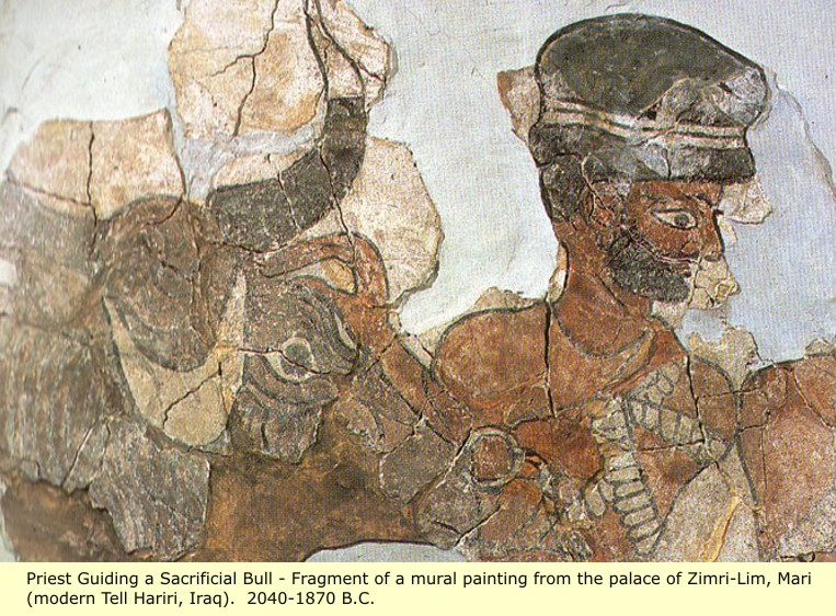 This image has an empty alt attribute; its file name is mural_priest_headdress_elam_sumer.jpg